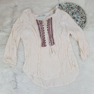 Maurices Boho Top Embroidered Crinkle 3/4 Sleeve